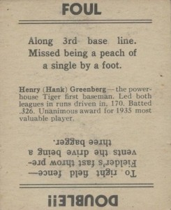 1936 Goudey Baseball Hank Greenberg back