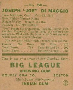 1938 Goudey Baseball Joe DiMaggio 250 back
