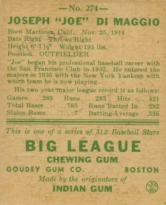 1938 Goudey Baseball Joe DiMaggio 274 back
