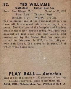 1939 Play Ball Baseball Ted Williams back
