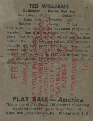 1939 Play Ball Baseball Ted Williams sample back