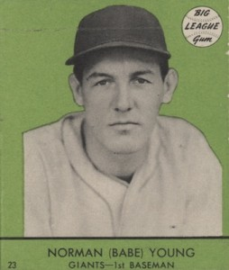 1941 Goudey Baseball Norman Babe Young Green
