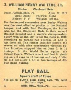 1941 Play Ball Baseball Blony back