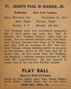 1941 Play Ball Baseball Joe DiMaggio Sports Hall back