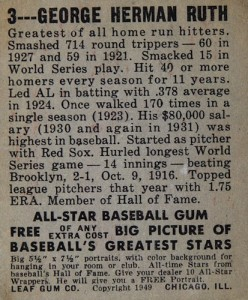 1948-49 Leaf Baseball Babe Ruth 1949 back