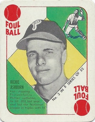 1951 Topps Blue Backs Baseball Ashburn