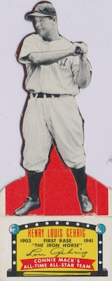 1951 Topps Connie Mack's All-Stars Baseball Lou Gehrig altered cut