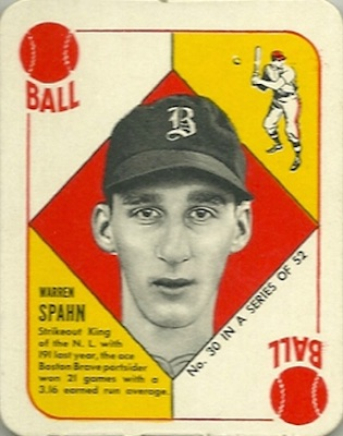 1951 Topps Red Backs Baseball Warren Spahn