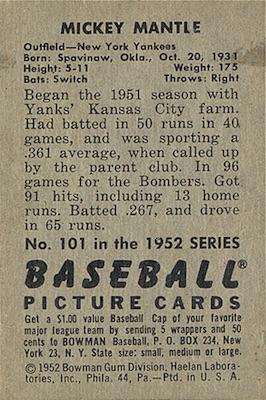1952 Bowman Baseball Mickey Mantle back