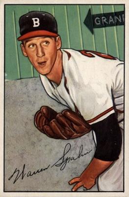 1952 Bowman Baseball Warren Spahn