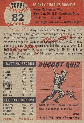 1953 Topps Baseball Mickey Mantle back