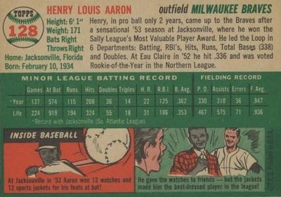 1954 Topps Baseball Hank Aaron back