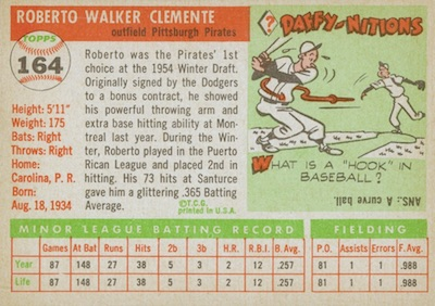 1955 Topps Baseball Roberto Clemente back