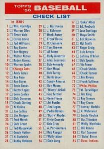 1956 Topps Baseball Checklist
