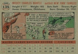 1956 Topps Baseball Mickey Mantle gray back