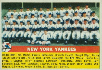 1956 Topps Baseball New York Yankees Team