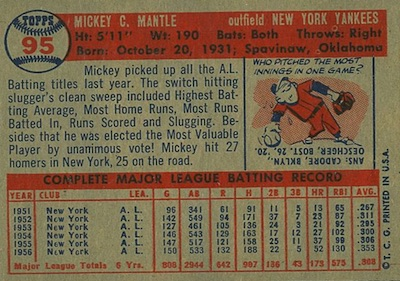 1957 Topps Baseball Mickey Mantle back