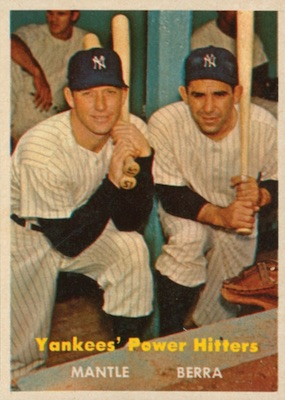 1957 Topps Baseball Yankees Power Hitters