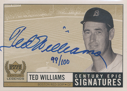 1999 Upper Deck Century Legends Epic Signatures Gold Ted Williams