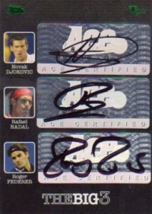 2012 Ace Authentic Grand Slam The Big Three Autographs Novak Djokovic, Rafael Nadal, Roger Federer
