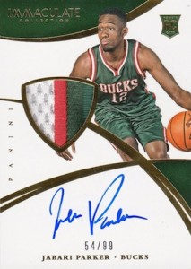 2014-15 Panini Immaculate Collection Jabari Parker RC #102 Autographed Jersey