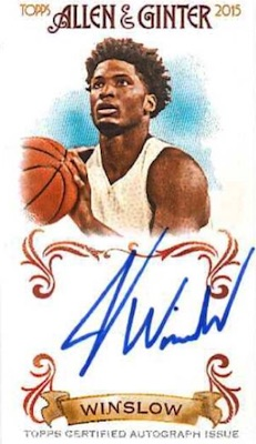 2015 Allen & Ginter Baseball NBA Draft Autographs Justise Winslow