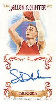 2015 Allen & Ginter Baseball NBA Draft Autographs Sam Dekker
