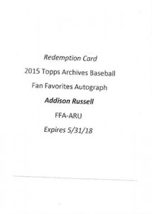 2015 Topps Ar Auto Addison Russell Redemption