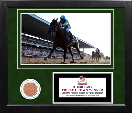 Victor Espinoza American Pharoah Framed Triple Crown 11x14 Photo 2015 Belmont Stakes Dirt