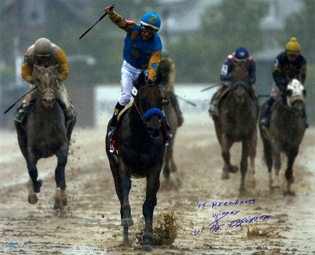 Victor Espinoza American Pharoah Framed Triple Crown Autographed 16x20 Preakness Stakes Photo Inscription