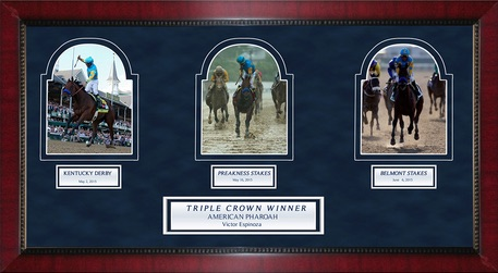 Victor Espinoza American Pharoah Framed Triple Crown Photo Collage