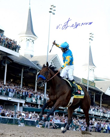 Victor Espinoza American Pharoah Triple Crown Autographed 16x20 Kentucky Derby Photo