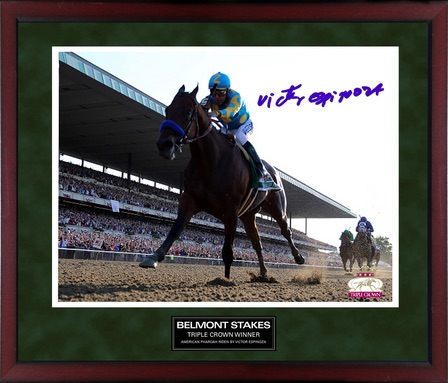 Victor Espinoza American Pharoah Triple Crown Framed Autographed 16x20 Belmont Photo