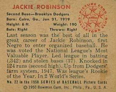1950 Bowman Jackie Robinson Back