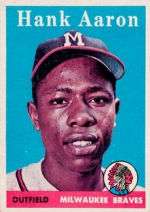 1958 Topps Baseball Hank Aaron Blue Background