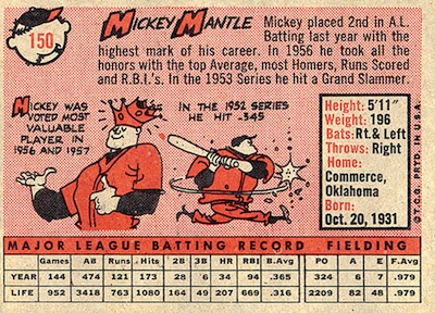 1958 Topps Baseball Mickey Mantle back