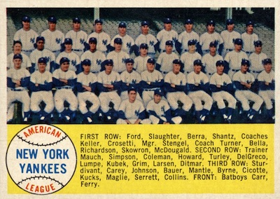 1958 Topps Baseball New York Yankees Team Checklist