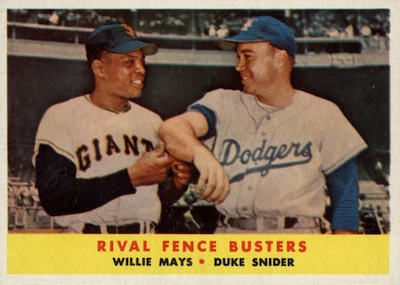 1958 Topps Baseball Rival Fence Busters Mays Snider