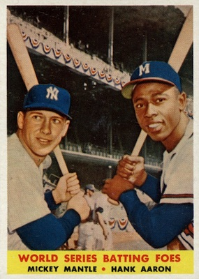 1958 Topps Baseball World Series Batting Foes Mantle Aaron