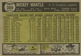 1961 Topps Baseball Mickey Mantle back