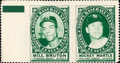 1961 Topps Baseball Stamp Panel Mantle