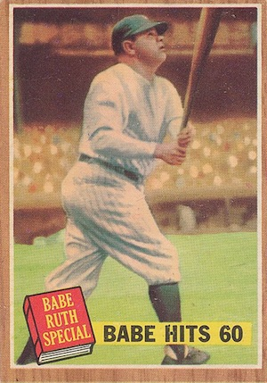 1962 Topps Baseball Babe Ruth Hits 60 pole grass