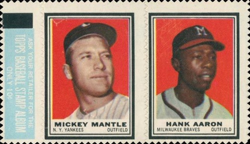1962 Topps Baseball Stamp Mantle Aaron