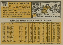 1963 Topps Baseball Mickey Mantle back