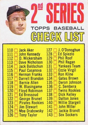 1967 Topps Baseball 2nd Series Checklist Mantle