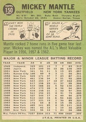 1967 Topps Baseball Mantle back