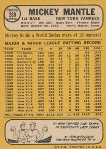 1968 Topps Baseball Mickey Mantle back