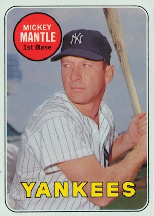 1969 Topps Baseball Mickey Mantle White Letters