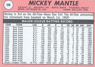 1969 Topps Baseball Mickey Mantle back
