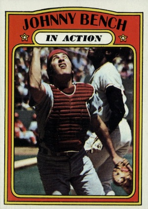 1972 Topps Baseball Johnny Bench In Action
